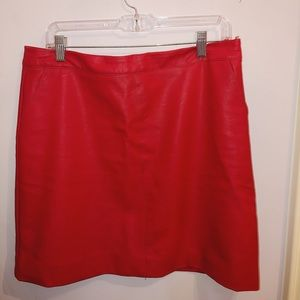Topshop Red Leather Skirt